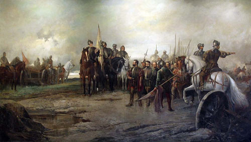 Óleo de Manuel Picolo López que muestra la rendición de los líderes comuneros.